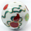 Handpainted Porcelain Beads, White, Brown calabash, Gold decoration, Round, Approx 30mm, Hole: Approx 2mm, Sold by PCS