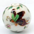 Handpainted Porcelain Beads, White, Pink peony flower colorful butterfly animal, Gold decoration, Round, Approx 30mm, Hole: Approx 2mm, Sold by PCS