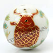 Handpainted Porcelain Beads, White, Black and maroon carp fish animal watergrass, Gold decoration, Round, Approx 30mm, Hole: Approx 2mm, Sold by PCS