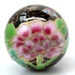 Handpainted Porcelain Beads, Black, Pink peony flower colorful butterfly animal auspicious clouds, Gold decoration, Round, Approx 30mm, Hole: Approx 2mm, Sold by PCS