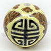 Handpainted Porcelain Beads, Yellow, Longevity Chinese symbol brown bat animal, Round, Approx 30mm, Hole: Approx 2mm, Sold by PCS