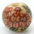 "Handpainted Porcelain Beads, Light camel, Flower ""Fortune comes with blooming flowers, Friendship forever""Chinese symbol, Round, Approx 8mm, Hole: Approx 2mm, Sold by PCS"