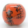 "Handpainted Porcelain Beads, Orange, Flower ""Fortune comes with blooming flowers, Friendship forever""Chinese symbol, Round, Approx 8mm, Hole: Approx 2mm, Sold by PCS"