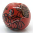 "Handpainted Porcelain Beads, Red, Flower ""Fortune comes with blooming flowers, Friendship forever""Chinese symbol, Round, Approx 8mm, Hole: Approx 2mm, Sold by PCS"