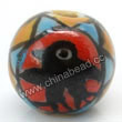 Handpainted Porcelain Beads, Colorful, Black bird animal, Round, Approx 8mm, Hole: Approx 2mm, Sold by PCS