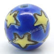 Handpainted Porcelain Beads, Royal blue, Purple moon yellow star, Round, Approx 8mm, Hole: Approx 2mm, Sold by PCS