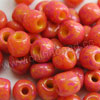 Glass seed beads, Opaque yellow and magenta, Round, Approx 3x4mm, Hole: Approx 1mm, Sold by bags