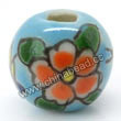 Handpainted Porcelain Beads, Sky blue, Orange flower butterfly animal, Round, Approx 8mm, Hole: Approx 2mm, Sold by PCS