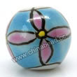 Handpainted Porcelain Beads, Sky blue, Purple flower, Round, Approx 8mm, Hole: Approx 2mm, Sold by PCS