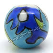 Handpainted Porcelain Beads, Sky blue, Colorful pattern, Round, Approx 8mm, Hole: Approx 2mm, Sold by PCS
