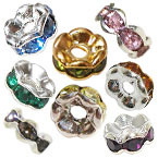 4x2mm Wave Rondelle Rhinestone Beads