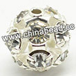 Rhinestone beads with crystal stones, Brass in silver plating, Round, Approx 6mm, Hole: Approx 1mm, Sold by Bags
