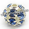 Rhinestone beads with light sapphire stones, Brass in silver plating, Round, Approx 6mm, Hole: Approx 1mm, Sold by Bags