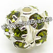 Rhinestone beads with olivine stones, Brass in silver plating, Round, Approx 6mm, Hole: Approx 1mm, Sold by Bags
