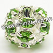 Rhinestone beads with peridot stones, Brass in silver plating, Round, Approx 6mm, Hole: Approx 1mm, Sold by Bags
