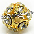 Rhinestone beads with crystal stones, Brass in gold plating, Round, Approx 6mm, Hole: Approx 1mm, Sold by Bags