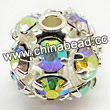 Rhinestone beads with crystalAB stones, Brass in silver plating, Round, Approx 8mm, Hole: Approx 1mm, Sold by Bags