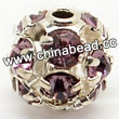 Rhinestone beads with light amethyst stones, Brass in silver plating, Round, Approx 8mm, Hole: Approx 1mm, Sold by Bags