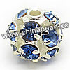 Rhinestone beads with light sapphire stones, Brass in silver plating, Round, Approx 8mm, Hole: Approx 1mm, Sold by Bags