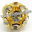 Rhinestone beads with crystal stones, Brass in gold plating, Round, Approx 8mm, Hole: Approx 1mm, Sold by Bags