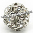 Rhinestone beads with crystal stones, Brass in platinum plating, Round, Approx 8mm, Hole: Approx 1mm, Sold by Bags