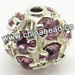 Rhinestone beads with light amethyst stones, Brass in silver plating, Round, Approx 20mm, Hole: Approx 3mm, Sold by Bags