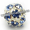 Rhinestone beads with light sapphire stones, Brass in silver plating, Round, Approx 20mm, Hole: Approx 3mm, Sold by Bags