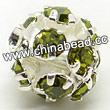 Rhinestone beads with olivine stones, Brass in silver plating, Round, Approx 20mm, Hole: Approx 3mm, Sold by Bags