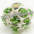 Rhinestone beads with peridot stones, Brass in silver plating, Round, Approx 20mm, Hole: Approx 3mm, Sold by Bags