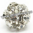 Rhinestone beads with crystal stones, Brass in platinum plating, Round, Approx 20mm, Hole: Approx 3mm, Sold by Bags