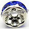 Rhinestone beads with sapphire stones, Brass in silver plating, Rondelle, Flat, Approx 4x2mm, Hole: Approx 1mm, Sold by Bags