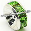 Rhinestone beads with peridot stones, Brass in silver plating, Rondelle, Flat, Approx 4x2mm, Hole: Approx 1mm, Sold by Bags