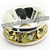Rhinestone beads with jonquil stones, Brass in silver plating, Rondelle, Flat, Approx 4x2mm, Hole: Approx 1mm, Sold by Bags