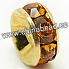 Rhinestone beads with topaz stones, Brass in gold plating, Rondelle, Flat, Approx 4x2mm, Hole: Approx 1mm, Sold by Bags
