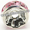 Rhinestone beads with pink stones, Brass in silver plating, Rondelle, Flat, Approx 5x2mm, Hole: Approx 1mm, Sold by Bags