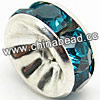 Rhinestone beads with teal stones, Brass in silver plating, Rondelle, Flat, Approx 6x3mm, Hole: Approx 1mm, Sold by Bags