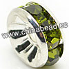 Rhinestone beads with olivine stones, Brass in silver plating, Rondelle, Flat, Approx 6x3mm, Hole: Approx 1mm, Sold by Bags