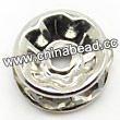 Rhinestone beads with crystal stones, Brass in platinum plating, Rondelle, Flat, Approx 6x3mm, Hole: Approx 1mm, Sold by Bags