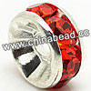 Rhinestone beads with siam stones, Brass in silver plating, Rondelle, Flat, Approx 7x3mm, Hole: Approx 1mm, Sold by Bags