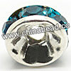 Rhinestone beads with teal stones, Brass in silver plating, Rondelle, Flat, Approx 8x4mm, Hole: Approx 2mm, Sold by Bags