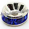 Rhinestone beads with sapphire stones, Brass in silver plating, Rondelle, Flat, Approx 8x4mm, Hole: Approx 2mm, Sold by Bags