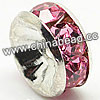 Rhinestone beads with pink stones, Brass in silver plating, Rondelle, Flat, Approx 8x4mm, Hole: Approx 2mm, Sold by Bags