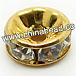 Rhinestone beads with crystal stones, Brass in gold plating, Rondelle, Flat, Approx 8x4mm, Hole: Approx 2mm, Sold by Bags