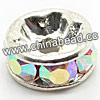 Rhinestone beads with crystalAB stones, Brass in silver plating, Rondelle, Flat, Approx 10x4mm, Hole: Approx 3mm, Sold by Bags