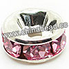 Rhinestone beads with pink stones, Brass in silver plating, Rondelle, Flat, Approx 10x4mm, Hole: Approx 3m, Sold by Bags