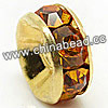 Rhinestone beads with topaz stones, Brass in gold plating, Rondelle, Flat, Approx 10x4mm, Hole: Approx 3mm, Sold by Bags