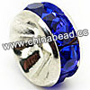 Rhinestone beads with sapphire stones, Brass in silver plating, Rondelle, Flat, Approx 10x4mm, Hole: Approx 3mm, Sold by Bags