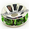 Rhinestone beads with peridot stones, Brass in silver plating, Rondelle, Flat, Approx 10x4mm, Hole: Approx 3mm, Sold by Bags