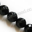 Gemstone Beads, Black onyx, Faceted 56F round, Approx 12mm, Hole: Approx 1.2mm, 32pcs per strand, Sold by strands