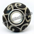 Carved Bone Beads, Black, Swirls, Large Hole/European style, Rondelle, Approx 15x8mm, Hole:Approx 5mm, Sold by PCS
